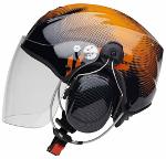 Icaro Solar-X Black / Orange (långt transparent visir)